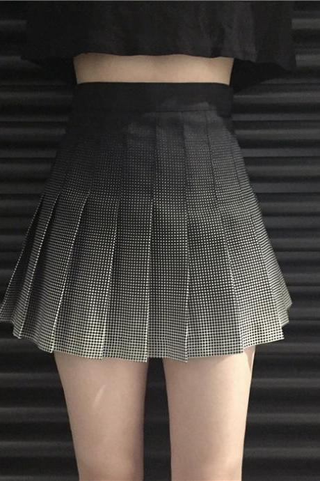 Gradient plaid high waist pleated skirt