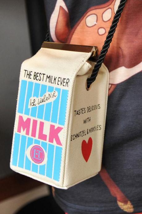 cute milk box trend Shoulder Messenger Bag