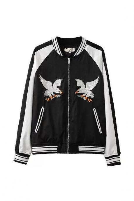 Eagle Embroidered Satin Bomber Jacket