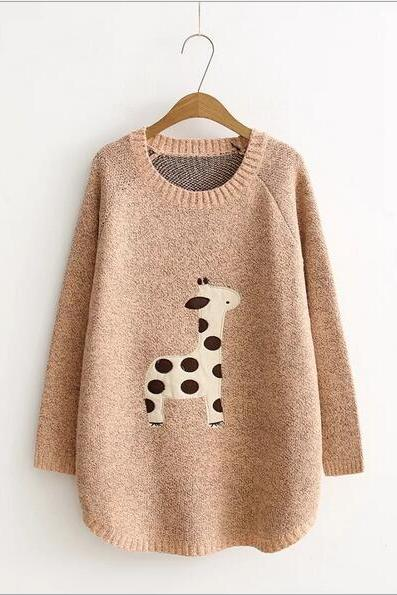 Cartoon Giraffe Long sleeve knit loose Sweater