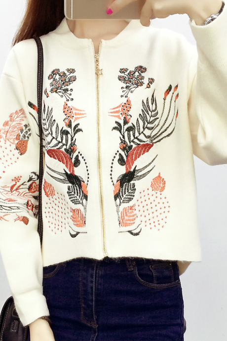 Ethnic Embroidered Zipper cardigan