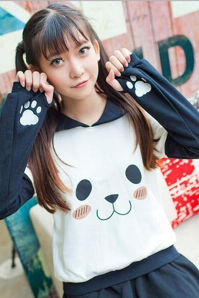 cute sailor collar panda sweater
