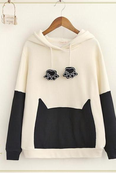 Cartoon cat loose hooded sweater