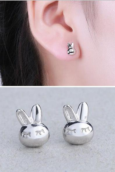 sliver rabbit earring