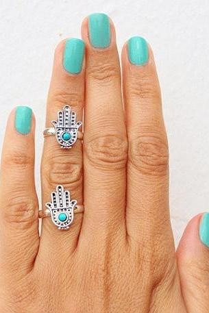 Retro Gemstone Cute Hamsa Fatima Buddha Hand 2 Pcs Women's Fashion Ring