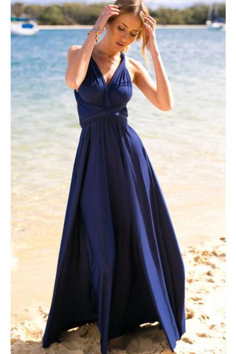 Dark Blue Sleeveless Convertible Long Dress