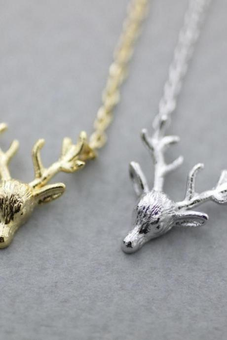 Elk Deer head Reindeer Pendant Necklace
