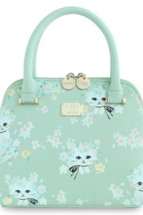 Mint cat painted pattern flower handbag