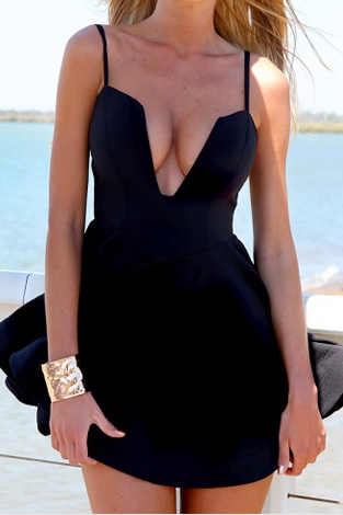 Sexy V Neck Spaghetti Strap Sleeveless Black A Line Mini Dress