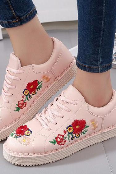 Floral Embroidered Faux Leather Sneakers