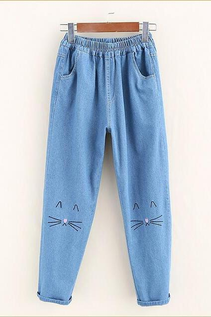 Cat embroidery loose jeans