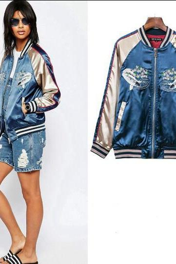 Women Harajuku Fish Flower Embroidery Contrast color Baseball Jacket Coat #220