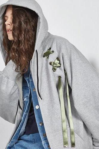 Lace-Up Hooded Long Sleeved Oversized Jacket