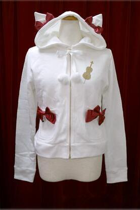 Free shipping HARAJUKU White Hoodies Sweet Bow Pockets Cute cat ear Hood Lolita jacket#307