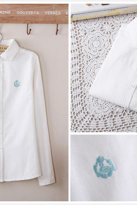 Free shipping Swan embroidered blouse shirts#YYL-51
