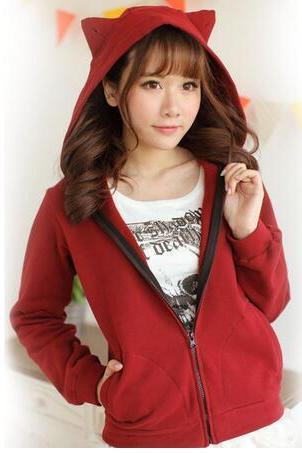 Harajuku Sweet Casual Cat Ear Hooded Sweatshirt #306