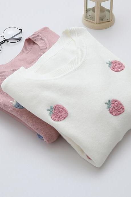 Cute Strawberry Embroidered Sweater