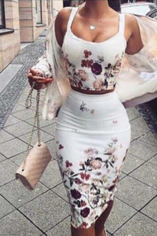 SEXY PRINTED SLING TWO-PIECES DRESS