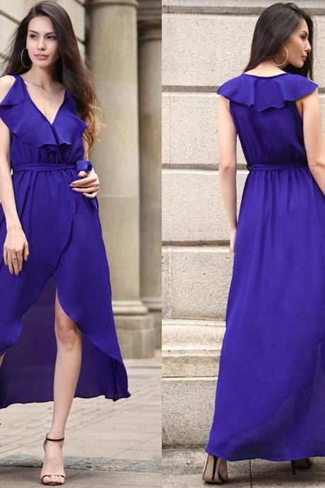 Europe and America style deep v collar sleeveless chiffon dress