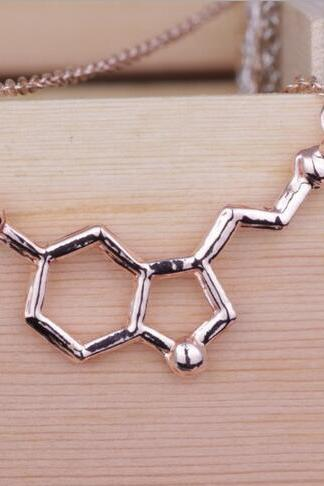 Dopamine molecule chemical structure necklace
