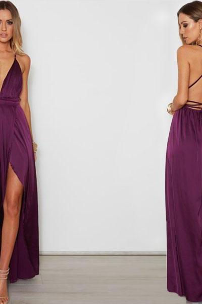 Dark Purple Lace-Up Back Maxi Dress Featuring Plunge V Neckline and High Slit