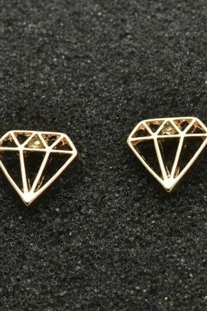 Diamond Geometric Stud Earrings in Silver and Gold, Jewelry