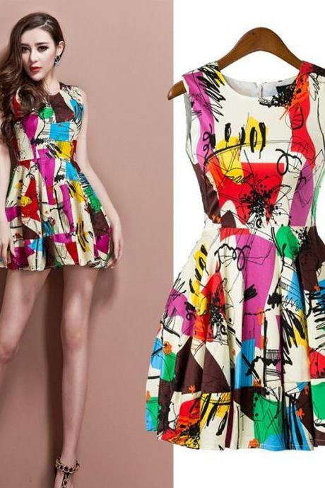 Graffiti Print Dress Short Vest Dress Unique Design Tank Dresses