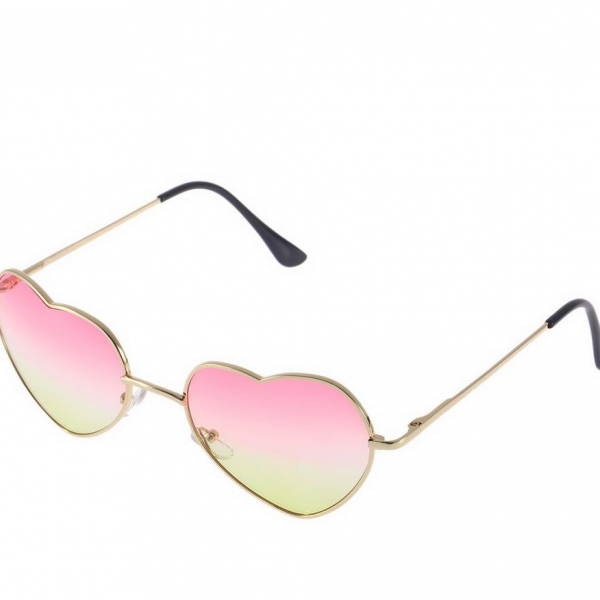 Gold Framed Heart Shaped Sunglasses Featuring Ombre Tinted Lenses