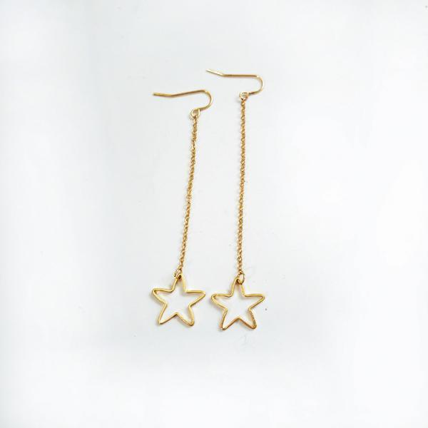 Gold Star Dangle Earrings, Jewelry