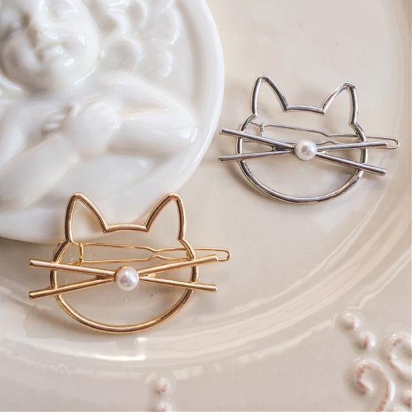 Silver Gold Kitty Cute Cat Shape Hair Clip