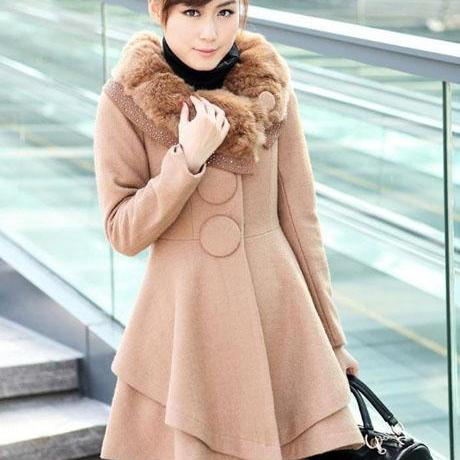 Elegant Light Tan Fashion Coat