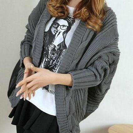 Irregular Bat Loose Knit Sweater