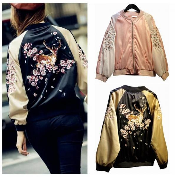 Satin Embroidered Bomber Jacket Women Baseball Coat Floral Embroidery