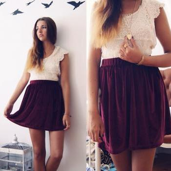 Wine Red Velvet Skirt