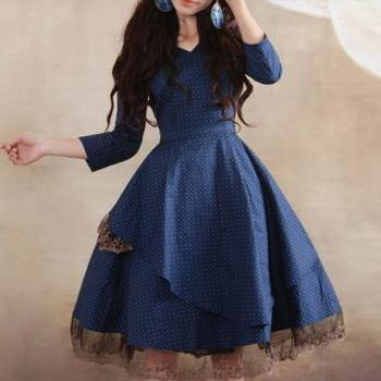 Sexy & beautiful lace dress Linen Cotton dress women dress fashion dress Long sleeve dress