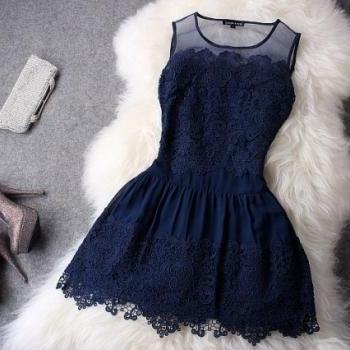 Retro lace Hollow Out Hook Flower Skirt dress