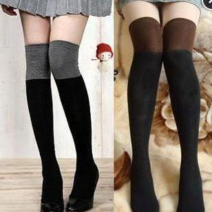 Fashion Cotton double color knee high tights boots socks