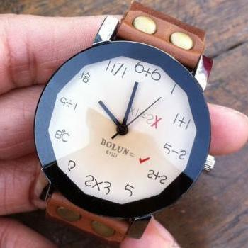 Digital Algorithm Dial Leather Watch
