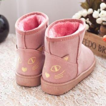 Cute Kitty Snow Fur Boots. Four Colors Available