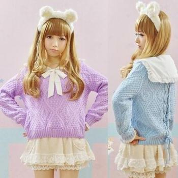 Hollow Kitted Cross Jumper Sweater In Pastel Colors