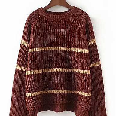 Women's Solid Colored Striped Basic Pullover