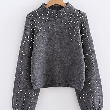 Women's Solid Colored / Pearl Basic Cardigan