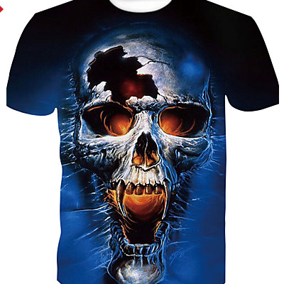 Men's Color Block / Skull Print Basic / Street chic T-shirt