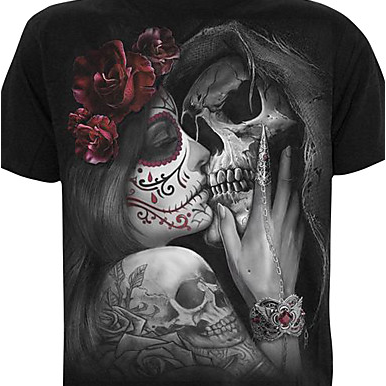 Men's Skull / Portrait Print / Short Sleeve Skull / Exaggerated Plus Size Cotton T-shirt