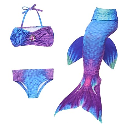 The Little Mermaid Skirt Swimwear Bikini Kid's Mermaid and Trumpet Gown Slip Bikini Sequins Christmas Masquerade Festival / Holiday Halloween Costumes Outfits Purple / Red / Blue Color Block