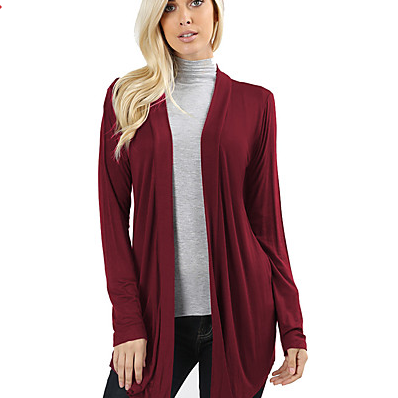 Women's Solid Colored V Neck Long Sleeve Loose Long Cardigan