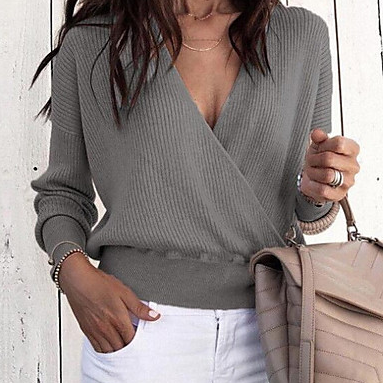 Women's Solid Colored Deep V Basic Long Sleeve Loose Pullover sweater