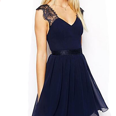 Women's Backless Going out Chiffon Dress - Solid Colored Lace / Backless V Neck Summer Blue dress