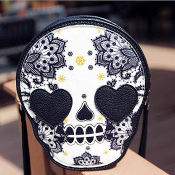 Retro Skull Printed Mini Shoulder Bags With Tassel Zip
