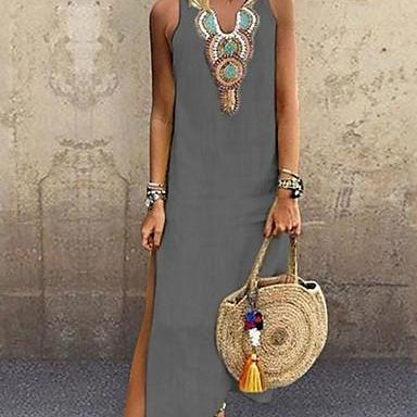 Women's Boho Elegant Shift Dress,Solid Colored Tribal Split Patchwork dress